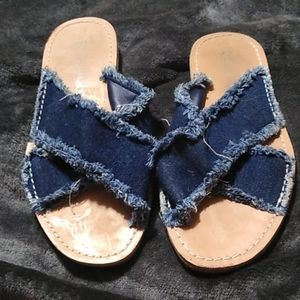Dirty Laundry Jean Sandals, Size 6